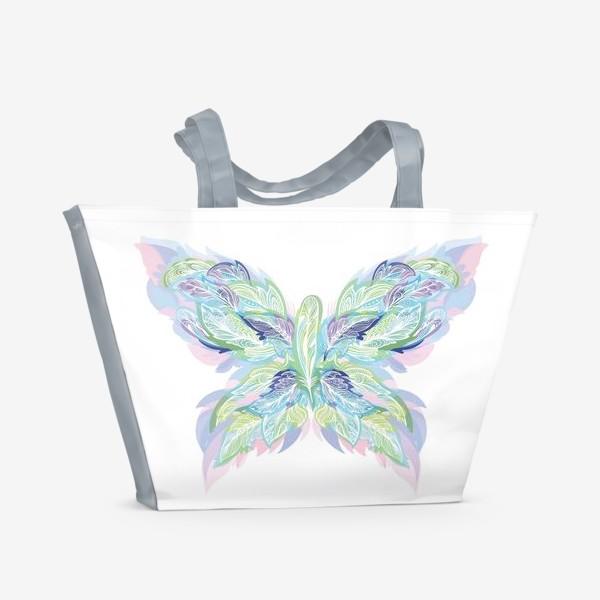 Пляжная сумка «Бабочка из перьев»