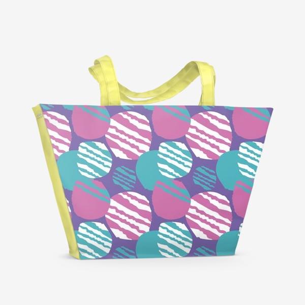 Пляжная сумка «яркий паттерн круги в полоску»
