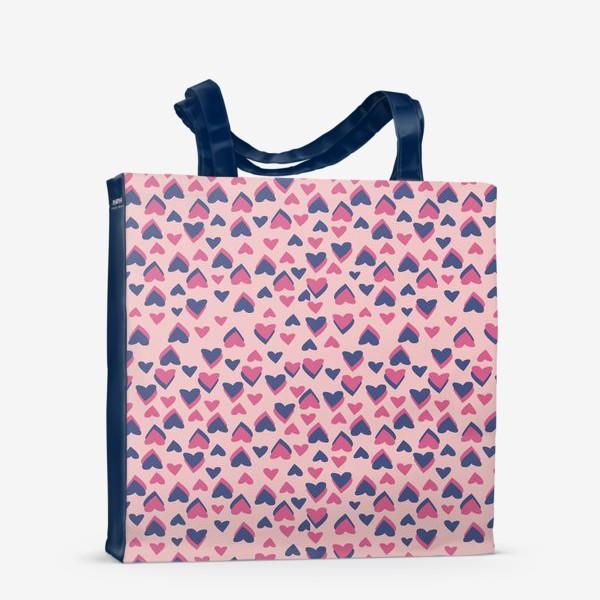 Сумка-шоппер «Паттерн розовые сердца»