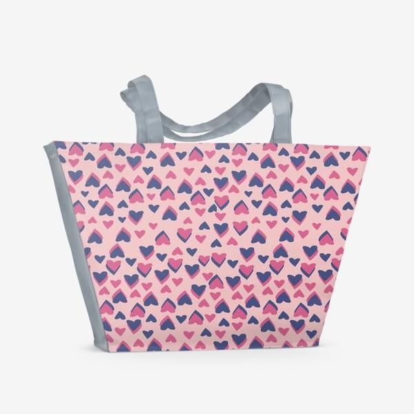 Пляжная сумка «Паттерн розовые сердца»