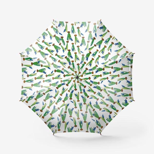 Зонт «Паттерн весенние мускари с луковичками»