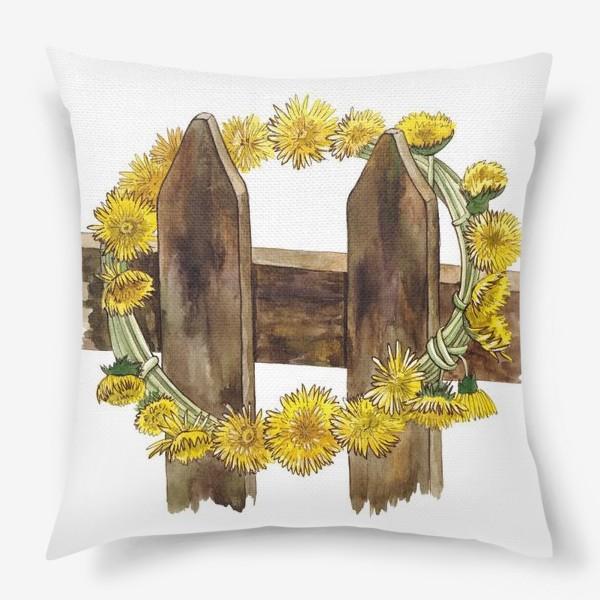 Подушка «Желтые одуванчики (Венок)»