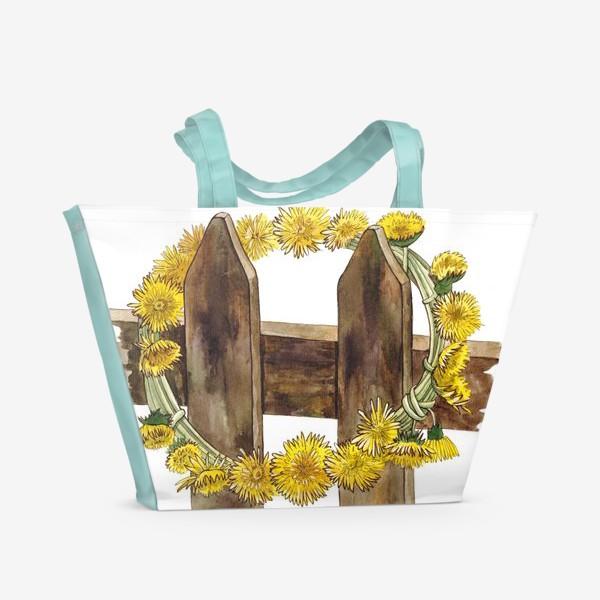 Пляжная сумка «Желтые одуванчики (Венок)»