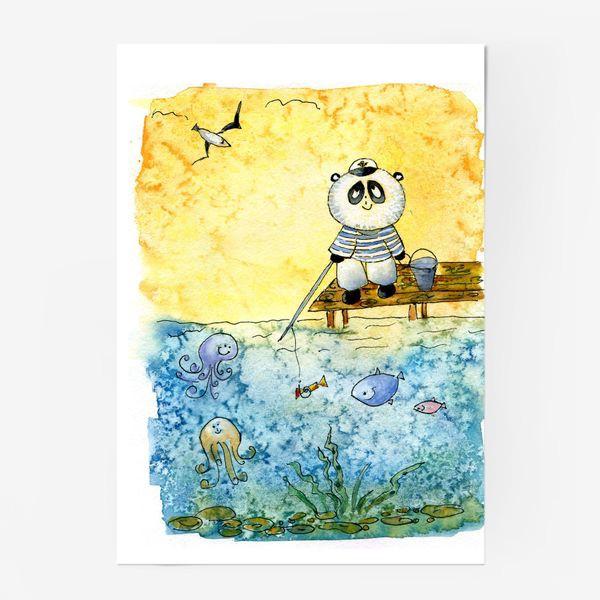 """Постер «Серия """"Счастливые панды"""" Рыбалка»"""