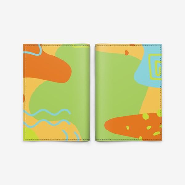 Обложка для паспорта «Абстракция. Оранжевый, зеленый, голубой.»