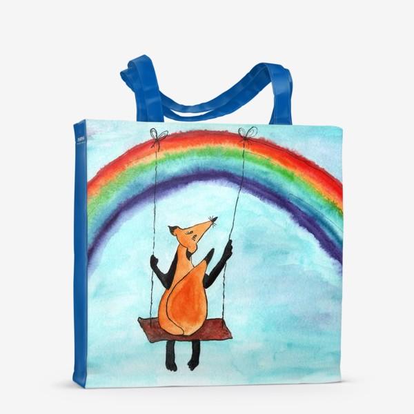 Сумка-шоппер «Лисенок на качелях на радуге»