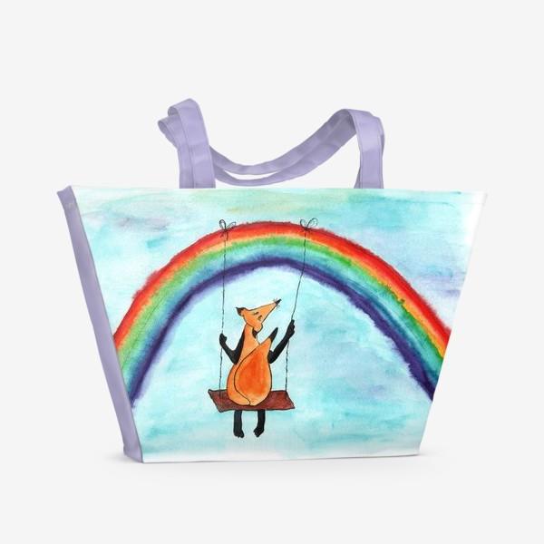 Пляжная сумка «Лисенок на качелях на радуге»