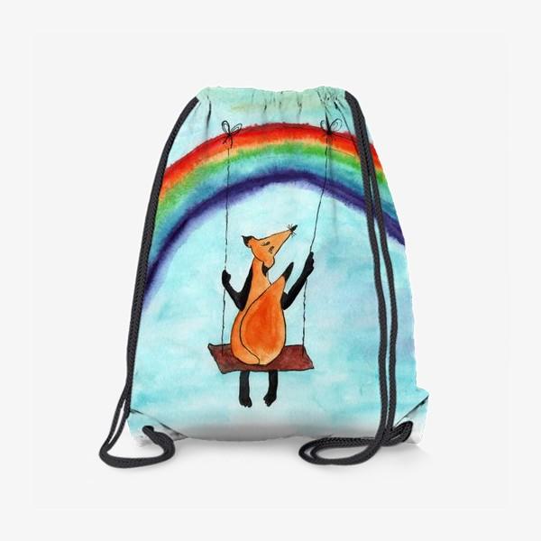Рюкзак «Лисенок на качелях на радуге»