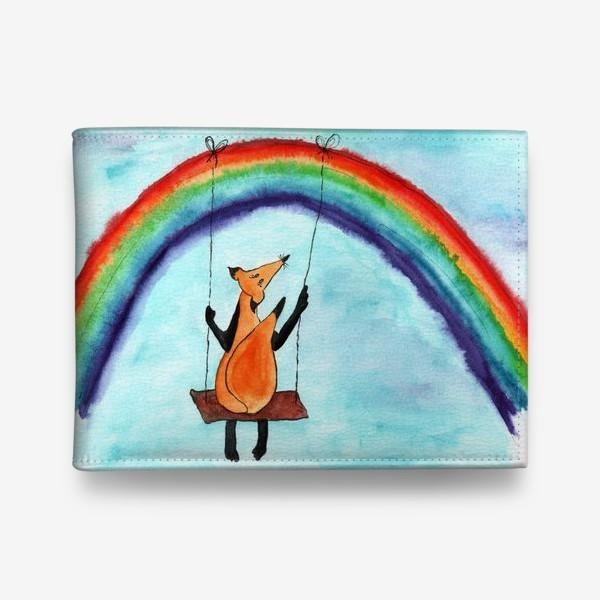 Кошелек «Лисенок на качелях на радуге»