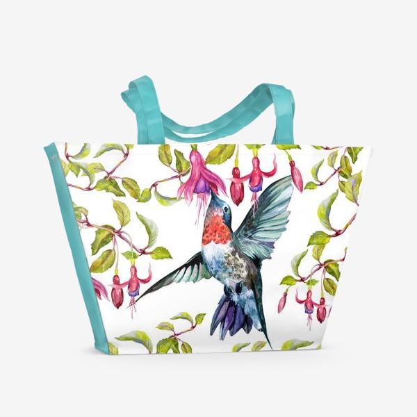 Пляжная сумка «Птица колибри и фуксия\Birds»