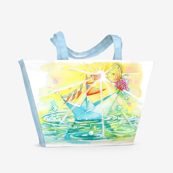 Пляжная сумка «Бумажный кораблик.»