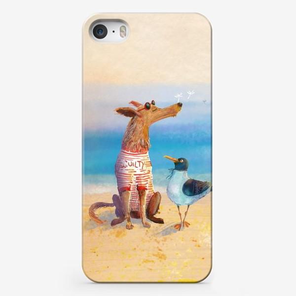 Чехол iPhone «Пес и чайка летом на море»