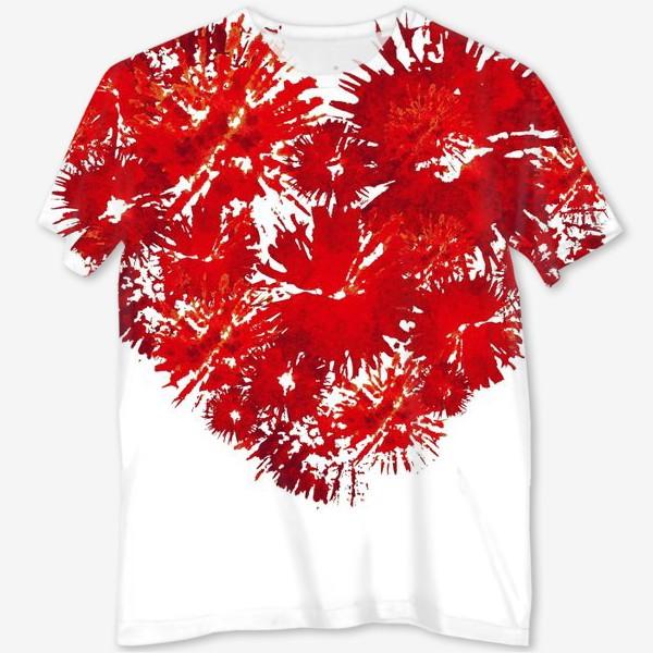 Футболка с полной запечаткой «Красное сердце, абстракция»