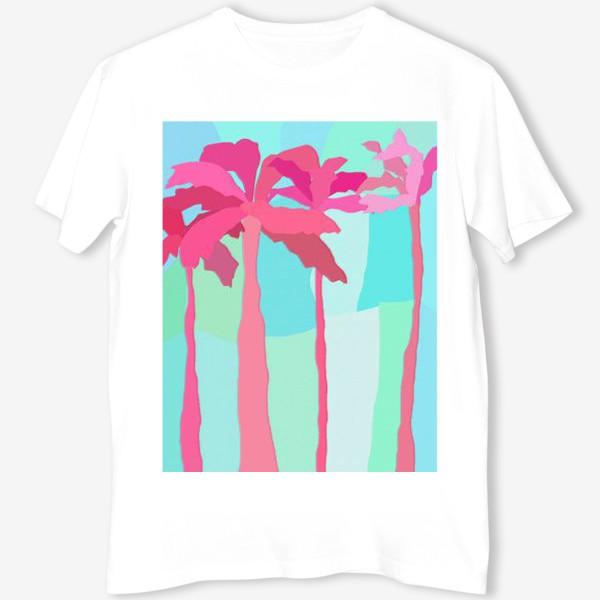 Футболка «Абстракция Пальмы летний принт мятный розовый»
