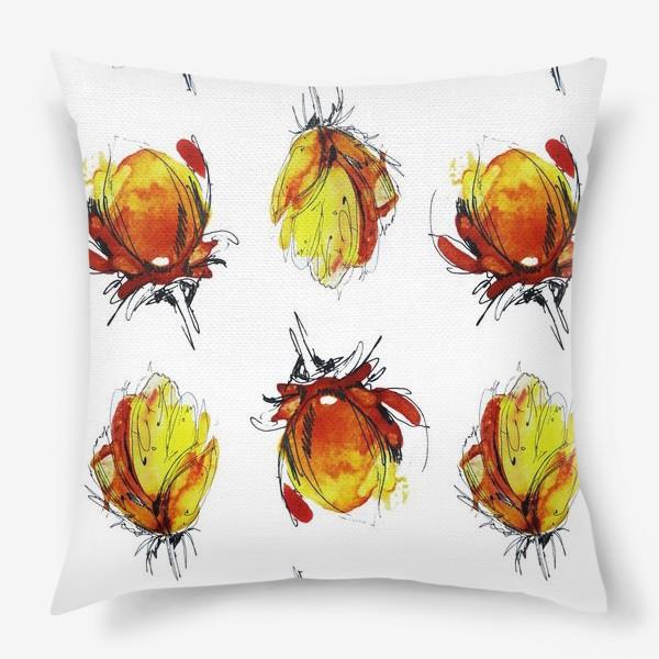 Подушка «Цветочный акварельный паттерн»