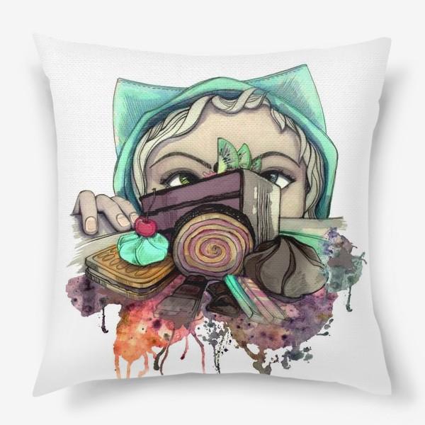Подушка «Девушка и сладости. Диета»