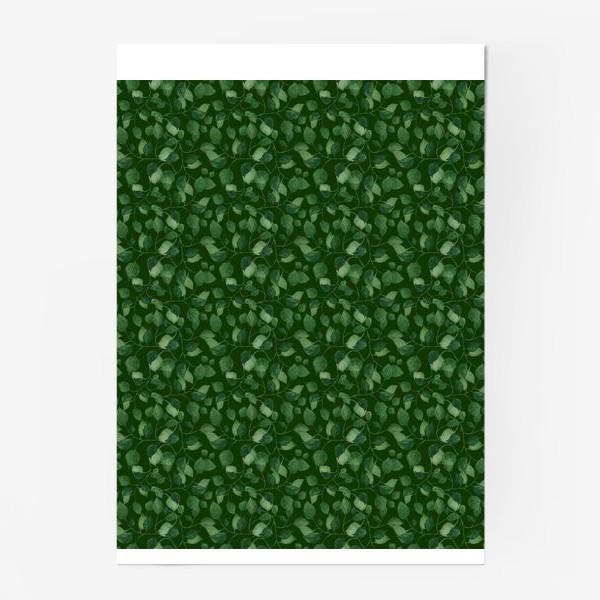 Постер «Природа растения листочки зелень эко паттерн»