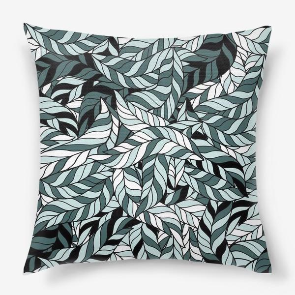Подушка «Мятные листья, паттерн»