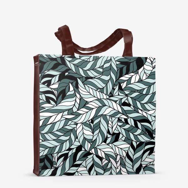 Сумка-шоппер «Мятные листья, паттерн»