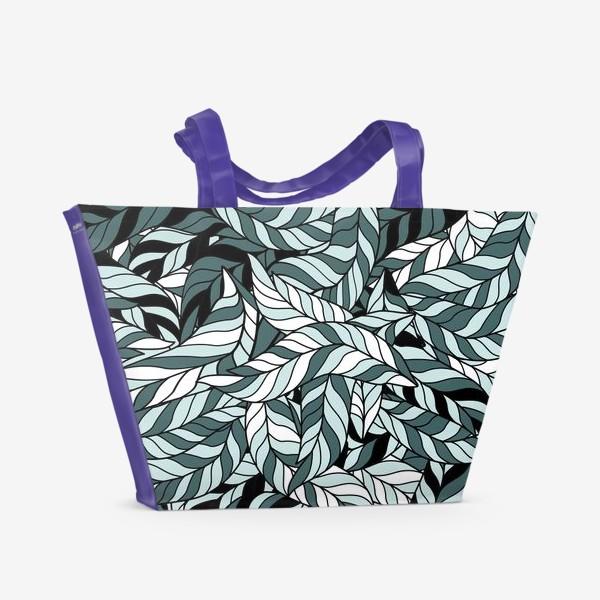 Пляжная сумка «Мятные листья, паттерн»