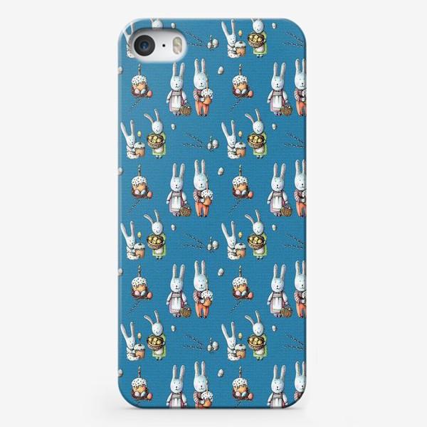 Чехол iPhone «Пасхальные зайчата с куличами»