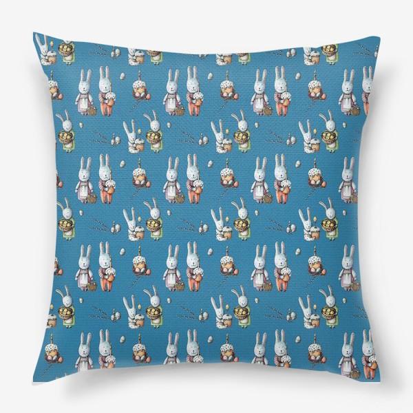 Подушка «Пасхальные зайчата с куличами»