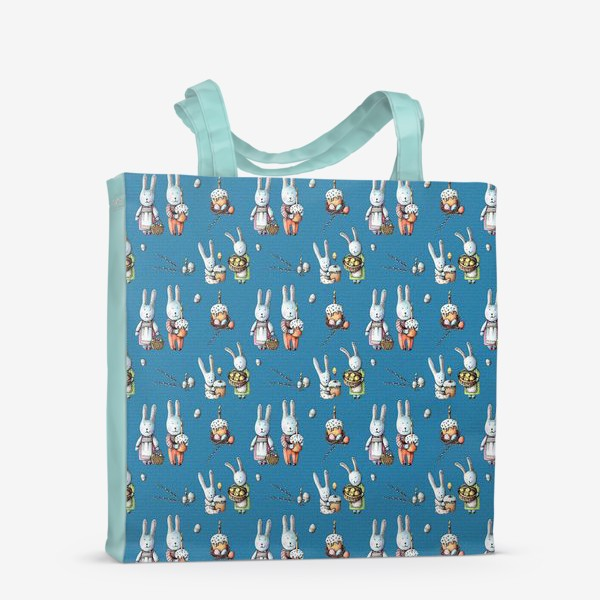 Сумка-шоппер «Пасхальные зайчата с куличами»