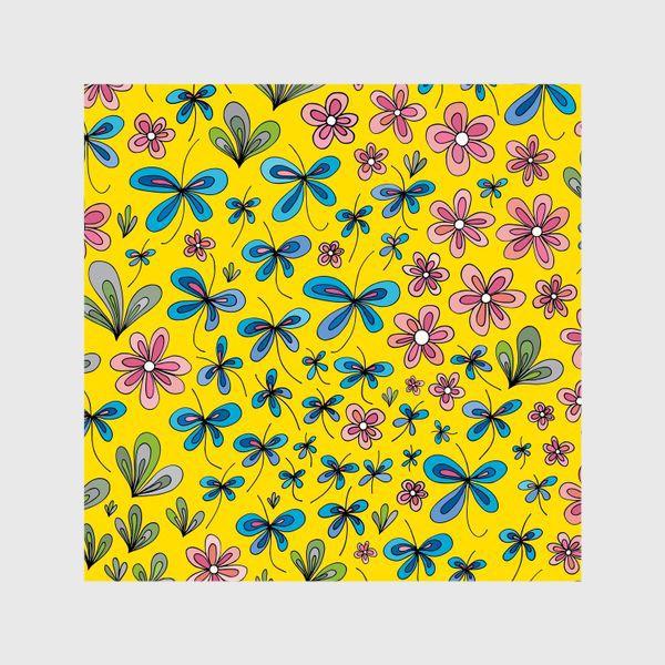 Шторы «Цветы и бабочки»