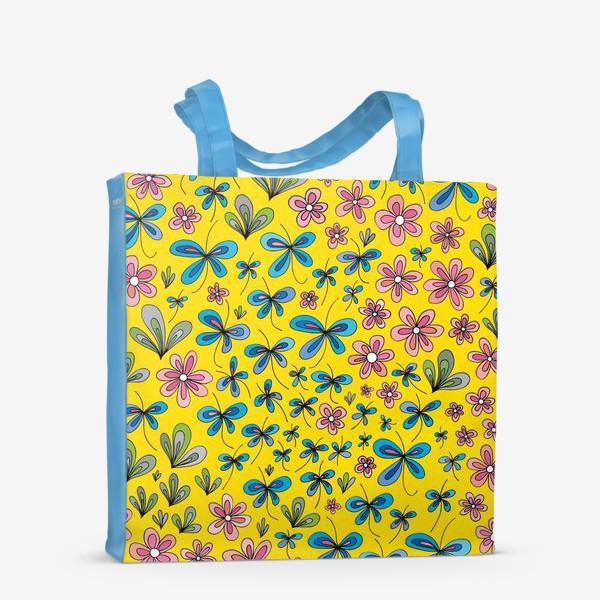 Сумка-шоппер «Цветы и бабочки»