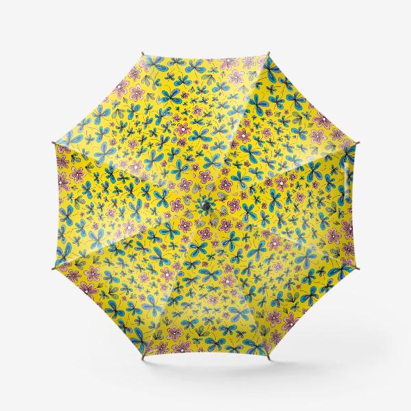 Зонт «Цветы и бабочки»