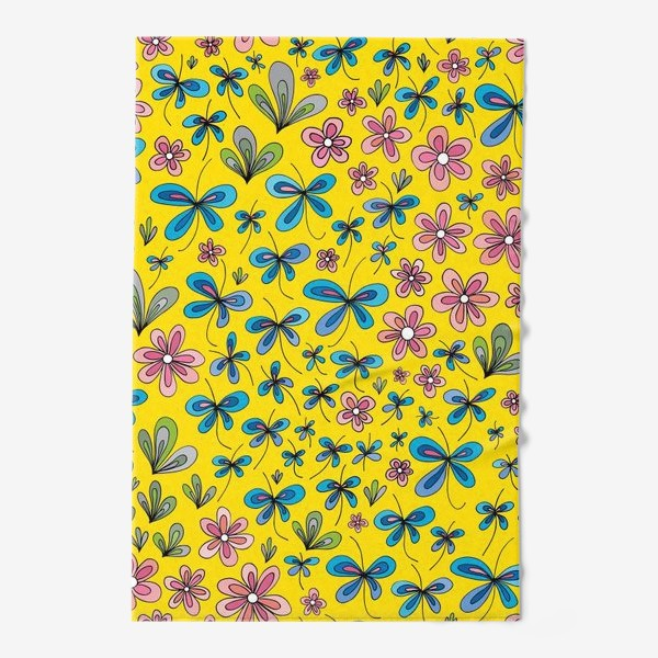 Полотенце «Цветы и бабочки»