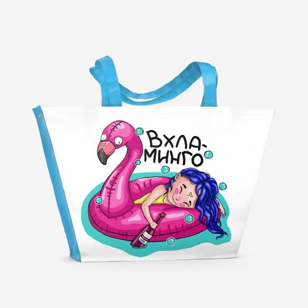 Пляжная сумка «Фламинго девушка с кругом на море»