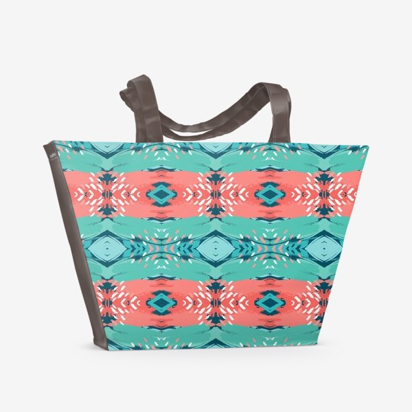 Пляжная сумка «Абстракция орнамент_бирюза_коралл»