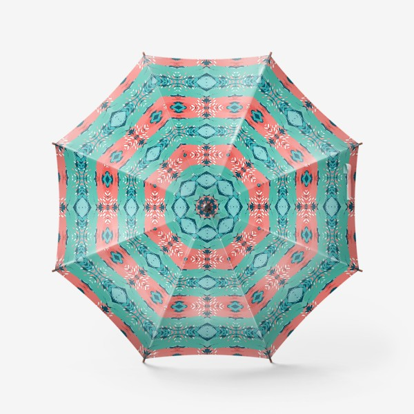 Зонт «Абстракция орнамент_бирюза_коралл»