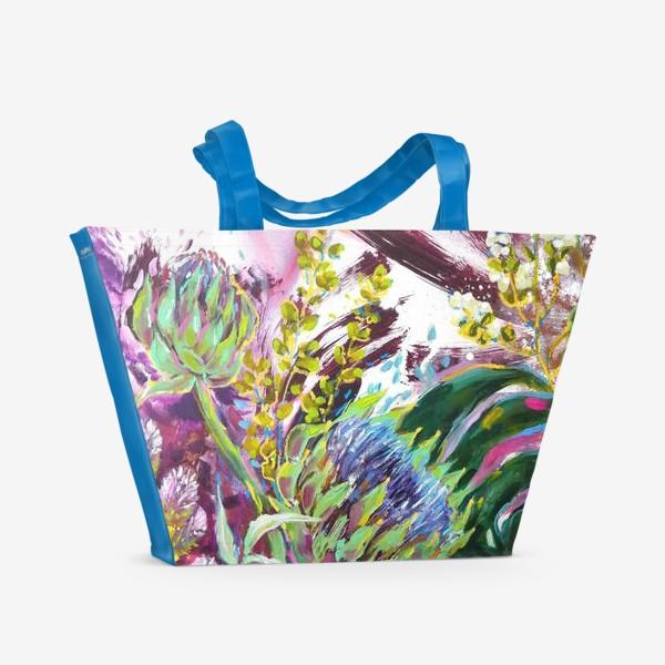 Пляжная сумка «Монстера и артишоки»