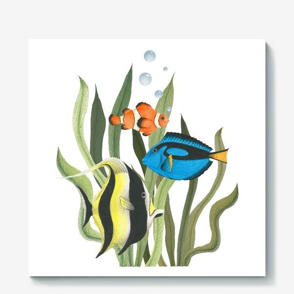 Холст «Океанические рыбки в водорослях»