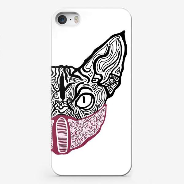 Чехол iPhone «Кот в маске на белом фоне »