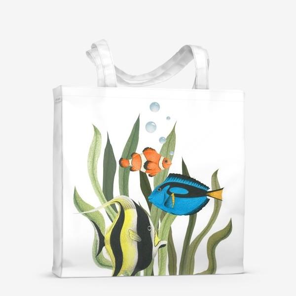 Сумка-шоппер «Океанические рыбки в водорослях»