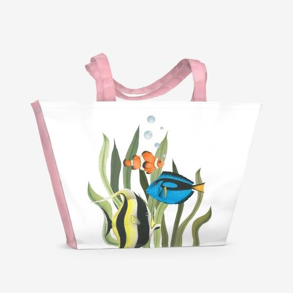 Пляжная сумка «Океанические рыбки в водорослях»