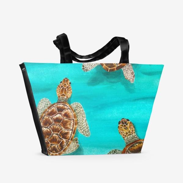 Пляжная сумка «Плывущие морские черепахи»
