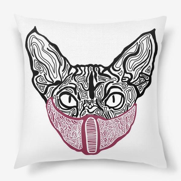 Подушка «Кот в маске на белом фоне »