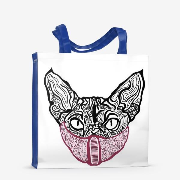 Сумка-шоппер «Кот в маске на белом фоне »
