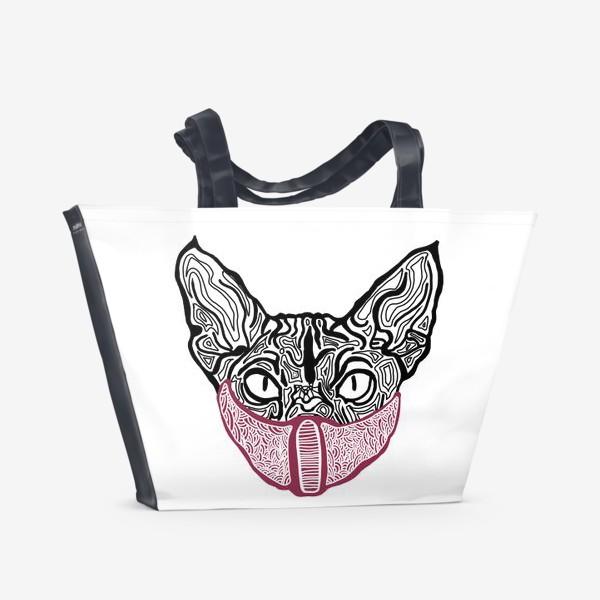 Пляжная сумка «Кот в маске на белом фоне »