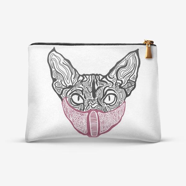 Косметичка «Кот в маске на белом фоне »
