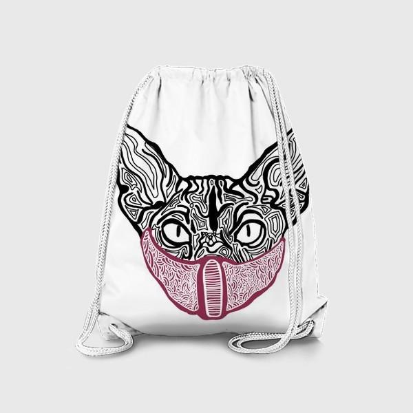 Рюкзак «Кот в маске на белом фоне »