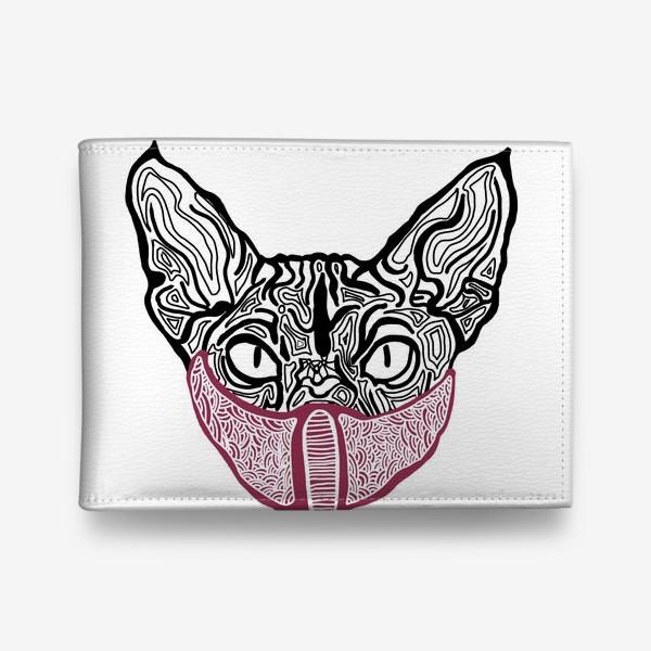 Кошелек «Кот в маске на белом фоне »