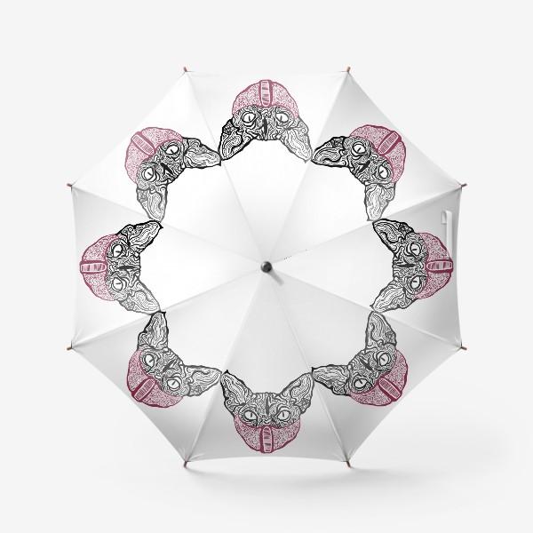 Зонт «Кот в маске на белом фоне »
