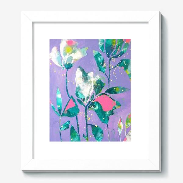 Картина «Весенние цветы на сиреневом»