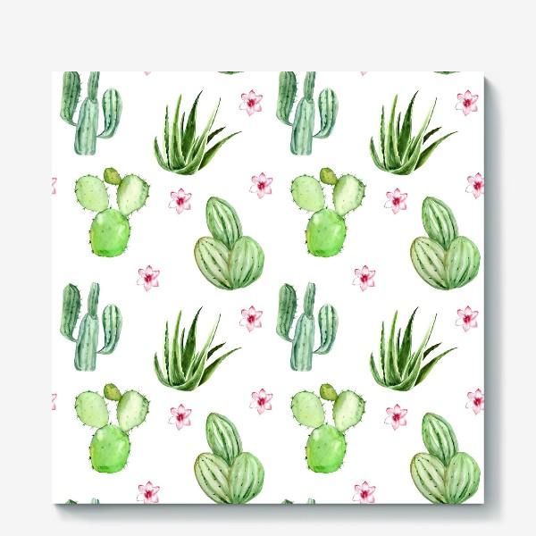 Холст «Безшовный акварельный паттерн с кактусами и цветами»
