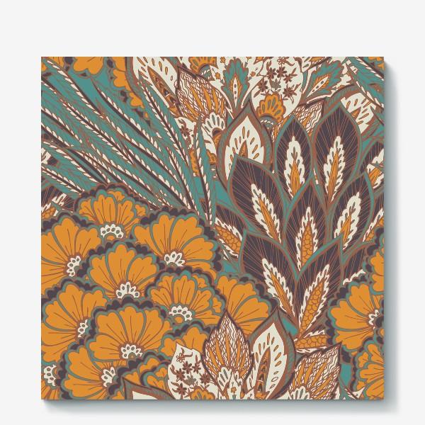 Холст «Восточный растительный орнамент в осенней палитре»
